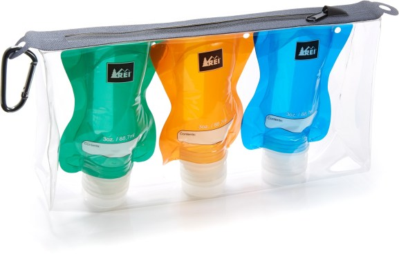 The REI TSA Friendly Flat Bottle Kit has bottles that collapse as they are emptied.